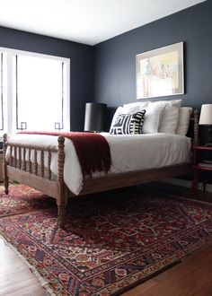 Hale Navy Bedroom Jenny Lind Bed and oriental rug by http://thenestinggame.com/nest-tour-2/nest-tour-guest-room/.