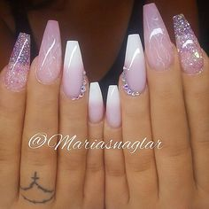REPOST - - - - Marble Glitter and French Fade with Crystals on long Coffin Nails - - - - Picture and Nail Design by @mariasnaglar Follow her for more gorgeous nail art designs! @mariasnaglar @mariasnaglar - - - -