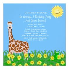 Giraffe and Frog Party Invitation