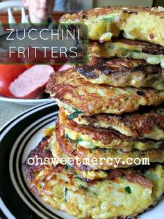 These easy, low carb Zucchini Fritters are a great way to use up that zucchini! Oh Sweet Mercy