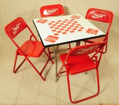 Coca-Cola Game Table With 4 Chairs on LiveAuctioneers Movie Themed Rooms, Coca Cola Store, Coca Cola Glasses, Coca Cola Kitchen, Cocoa Cola, Always Coca Cola, Vintage Coke, Table Games, Room Themes