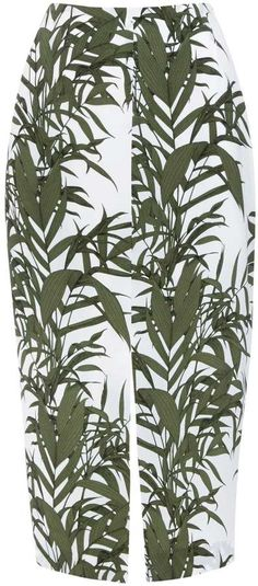 Khaki Palm Print Skirt