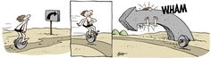 In the strip, it didn't lead to cars or carts, but was typically used by running a small log through the middle of it and sailing along on just a single wheel. Description from kleefeldoncomics.com. I searched for this on bing.com/images