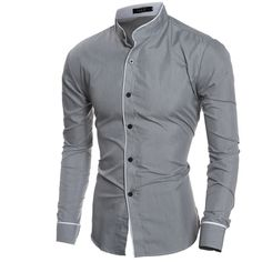 Cheap overhemd heren, Buy Quality shirt slim fit directly from China men shirt slim Suppliers: 2017 Fashion collar Mens Brand Shirt Long Sleeve Mens Shirts Slim Fit Mans Chemise Homme Camisa Hombre Casual Overhemd Heren Slim Fit Dress Shirts, Slim Fit Dresses, Fitted Dress Shirts, Shirt Dress, Formal Shirts, Casual Shirts For Men, Men Casual, Formal Tops, Grandad Collar Shirt