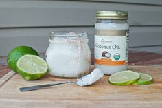 Home Made Coconut Scrub - Very easy! Tip: Use your crystal candle jars once they have burned completely to storage the scrub mix. Remove any wax residual and outer labels with a sponge and hot water.