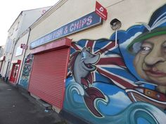 Famous British Fish & Chips - Hollyhead Road, Wednesbury - graffiti street art - The Queen