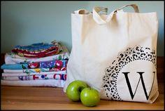 Inexpensive Easy Homemade Gifts-monogram tote