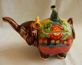 Oriental vintage teapot elephant ceramic, man figurine, colorful elephant raised trunk, collectible mom's gift