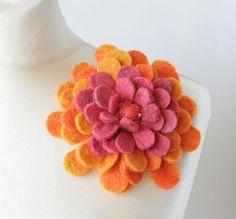 Pink Sun Dahlia -- Felt Flower Brooch -- Hand felted wool--love the color combo