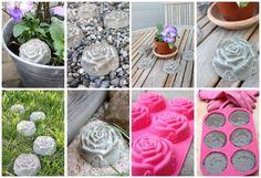 déco de jardin DIY en béton - des roses réalisées dans un moule en silicone pour cupcakes