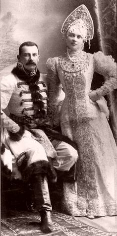 "Zinaida and Felix Yusupov at a ball of 1903, in ""traditional Russian costume""."