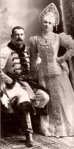 "Zinaida and Felix Yusupov at a ball ""in traditional Russian costume"", 1903."