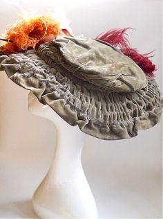 Sage green velvet wide brim soft structure Edwardian hat