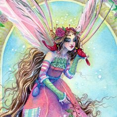 Fairy Art Print Christmas Fairy with Cardinals in by sarambutcher