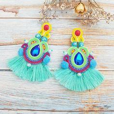 Soutache Earrings 8 in Long Tassel Earrings, Statement Earrings, Mardi Gras earrings, Multifunctional jewellery, Colorful Earrings Long Tassel Earrings, Soutache Earrings, Statement Earrings, Crochet Earrings, Brooches Handmade, Handmade Jewelry, Mardi Gras, Collor, Unusual Jewelry