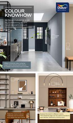 Dulux Kitchen Paint Colours, Dulux Paint Colours Neutral, Kitchen Colour Schemes, Wall Colours, Room Paint Colors, Kitchen Floor, New Living Room, Industrial Style, Brave