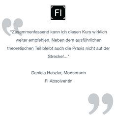 """""""Zusammenfassend kann ich diesen Kurs wirklich weiter empfehlen. Neben dem ausführlichen theoretischen Teil bleibt auch die Praxis nicht auf der Strecke!...""""  Daniela Heszler, Moosbrunn FI Absolventin"""
