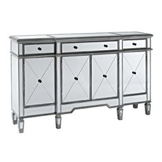 "Price: $679.95  NEW Mirrored 3 Drawer 4 Door Console Our Price $679.95  (compare this to similar look cabinet at Z Gallery for $1199.95)  60"" x 14"" x 36"" Tall"