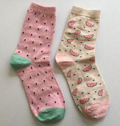 Pastel Watermelon Socks Fruit Novelty Socks by kindersticker