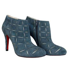 Louboutin Round Toe Leather Ankle Boots with Zipper