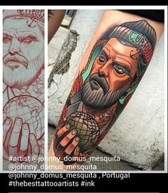 Sailor man with beard traditional style tattoo