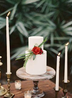 winter #weddingcake - photo by Melanie Gabrielle - http://ruffledblog.com/woodsy-winter-dinner-party/