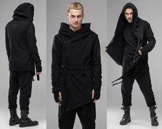 Hooded raincoat men black rain slicker rain poncho cape | Etsy Jedi Outfit, Cardigan Noir, Oversized Cardigan, Kimono Cardigan, Cosplay Costume, Cosplay Outfits, Diy Camisa, Steampunk Jacket, Mode Mantel