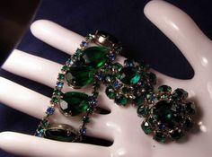 Vintage Emerald Green & Blue Rhinestone Wide Flat Back Bracelet & Earrings #Unbranded