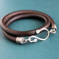 Coffee Brown Nappa Leather Wrap Bracelet Sterling Silver Hook