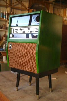 Chris White of Maryborough, Queensland, Australia, restores the outer shells of vintage radiograms, and redesigns the internal cabinet to house modern day stereo equipment and speakers. Radios, Mid Century Modern Decor, Mid Century Design, Hifi Video, Audio Room, Record Players, Vintage Records, Stereo Cabinet, Retro Furniture