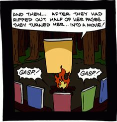 Gruesome campfire tales at summer book camp.