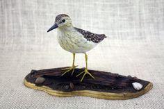 Least Sandpiper Bird Wood Carving, Hand Carved Bird, Bird Sculpture, Wildlife Art, Bird Carving, Shorebird, Woodcarving By Mike Berlin by BerlinGlass on Etsy