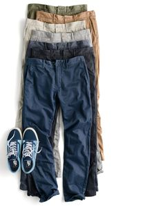 The J.Crew men's 484 chino. Heavily washed for a vintage look and now also in stretch, this narrow-leg pant has been the start of many a great look since 2003.