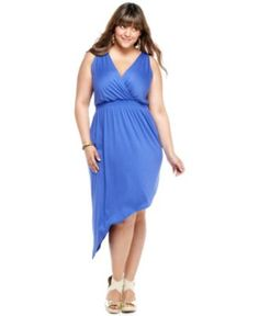 Soprano Plus Size Dress, Sleeveless Empire Asymmetrical Hem - Plus Size Dresses - Plus Sizes - Macy's