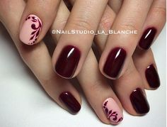 Deep Wine with Peach Nude Accent Nail and  Hand Drawn Wine Embellishments