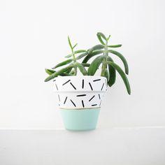 Mint Dash Plant Pot - 11cm