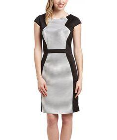 Love this Black & White Stripe Cap-Sleeve Dress - Women & Plus on #zulily! #zulilyfinds