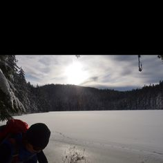 Frozen Twin Lake - out snowshoeing