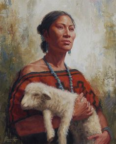 James Ayers presents Safekeeping which portrays a Navajo shepherdess with a lamb from her flock. James Ayers cofounded Wopila Artist Guild in Native American Beauty, Native American History, Native American Indians, American Indian Tattoos, American Indian Art, Graffiti Kunst, Pop Art, Navajo Women, Navajo Art