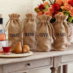 Acts of Kindness Wine Jute Bags