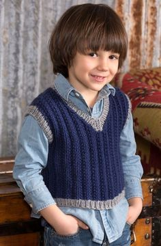 Boy's Seeded Rib Vest in Red Heart Soft Solids - LW4270. Discover more Patterns by Red Heart Yarns at LoveKnitting. The world's largest range of knitting supplies - we stock patterns, yarn, needles and books from all of your favorite brands.