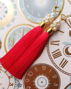 """Купить Серьги кисти """"Красные"""" - ярко-красный, серьги кисти, серьги кисточки, сережки длинные"""