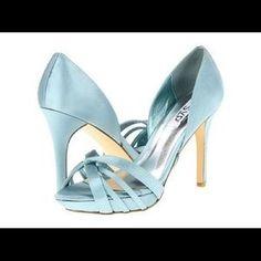 89a42d289 RSVP Weldon Satin Blue Prom Wedding platform Heels