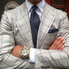 The Million Dollar Man Look! Windowpane plaid jacket and the polkadot and a crisp solid white shirt. Style Gentleman, Gentleman Mode, Gentleman Watch, Dapper Gentleman, Costume Gris, Mode Costume, Sharp Dressed Man, Well Dressed Men, Suit Fashion