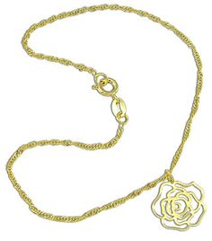 Tornozeleira folheada a ouro c/ detalhe em forma de flor Código: TR0048
