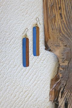 Fair Trade Wood Earrings // Handmade // Blue // Ethical Style // Slow Fashion // Summer