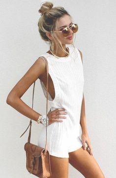 White summer romper, latest fashion trends. - Street Fashion & Casual Style…