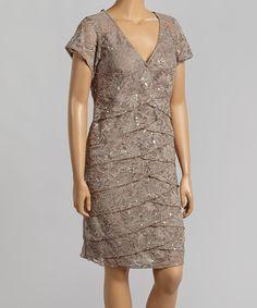 Another great find on #zulily! Mocha Tiered Lace V-Neck Dress - Plus by R&M Richards #zulilyfinds