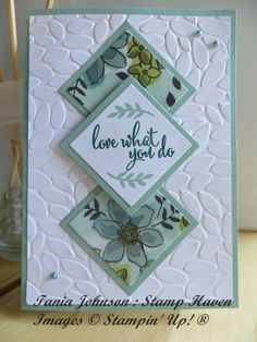 Share What You Love Diamond Spotlight. Beautiful panel card using DSP, layered on the petal burst embossing folder #sharewhatyoulove ##stampinup