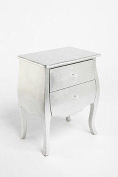 Silver side table. I envision Madelyn's room having something like this, not mirrored, too much of a hassle to clean.